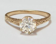 Antique Engagement Ring - 10k Rose Gold with European Cut Diamond