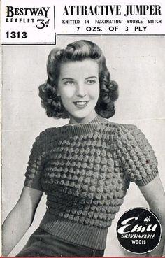 Bestway 1313 - ladies short sleeve jumper - vintage knitting pattern