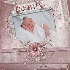 Newborn baby girl scrapbook page layout