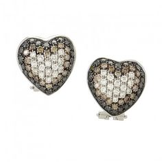 Italy Collection 18K White Gold Multi-Diamond Pave Heart Earrings