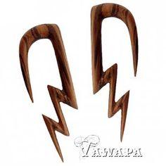 Tawapa: Pair of Zebra Wood Lightning Bolts- Body Jewelry