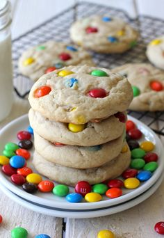 M&M Cookies - Soft, chewy cookies loaded with colorful M&M's - a batch of cookies that everyone will love! And the perfect use for your Halloween candy!