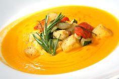 This delightful classic pumpkin soup is full of flavor. The sweet potato goes beautifully with the pumpkin for a flavor, which is sweet without being cloying. The croutons add a bit of crunch and the cumin adds a sharp and fragrant flavor. You can get cumin seeds from Asian food stores. If you cannot find them, try using fresh minced garlic instead for garlic croutons.