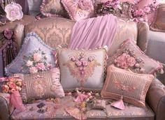 Shabby Chic Interior Design Ideas For Your Home Interiores Shabby Chic, Shabby Chic Interiors, Vintage Pillows, Ribbon Work, Silk Ribbon Embroidery, Everything Pink, My Favorite Color, Pretty In Pink, Decorative Pillows
