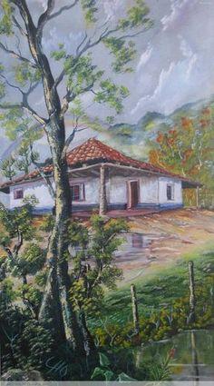 arbol Nature Paintings, Beautiful Paintings, Artist Painting, Colored Pencils, Amazing Art, Scenery, Illustration Art, Landscape, Costa Rica