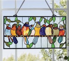 Stained Glass Bird Hanging from Seventh Avenue ® - possibly to do for my kitchen window Stained Glass Patterns Free, Stained Glass Quilt, Stained Glass Birds, Faux Stained Glass, Stained Glass Lamps, Stained Glass Designs, Stained Glass Panels, Stained Glass Projects, Mosaic Art