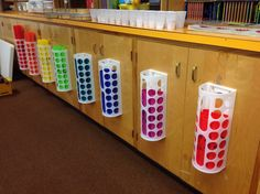 IKEA plastic bag holders for boomwhacker storage!  Each one holds 6 tubes perfectly!
