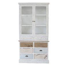 Buffet vaisselier 10 tiroirs 2 portes en bois Hauteur 190 cm OCEAN