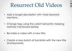 How to resurrect old #videos.  4 #tricks. Click to like or comment.http://www.ad-webservices.com/marketingservices/video-marketingfor-seattle-businesses/