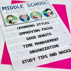 Get your middle schoolers ready for success by teaching study skills! Great for the first week of school, advisory groups, and students who just need Teaching Study Skills, Teaching Time, Writing Lessons, Science Lessons, Social Skills Activities, Educational Activities, Good Study Habits, First Day Of School Activities, Organization Skills