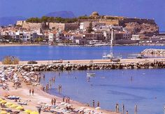People on Rethymnon Beach Crete Greece in the summer of 1990