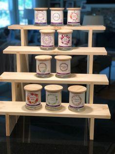 4-Tier Deep Shelf Display - Improved Design Craft Show Booths, Craft Show Displays, Display Ideas, Vendor Displays, Market Displays, Wood Display Stand, Display Shelves, Oil Based Stain, Deep Shelves