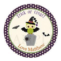 Halloween owl label - halloween cupcake topper - owl halloween sticker - hallowen party - purple halloween printable - owl halloween
