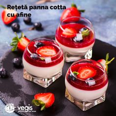 Panna Cotta with Berry Coulis Strawberry Panna Cotta, Berry Coulis, Dessert Shots, Everyday Food, Trifle, Desert Recipes, Food And Drink, Cooking Recipes, Favorite Recipes