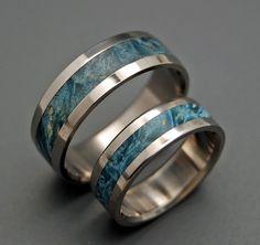 Blue Box Elder set of wooden wedding rings by MinterandRichterDes on etsy $390