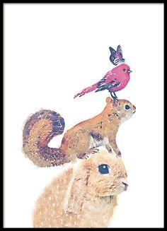 Söpö lasten taulu eläinmotiivilla