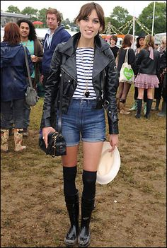 Gumboots, shorts, benton shirt and a leather jacket - festival Alexa Chung style! @The Cassette Society
