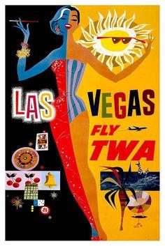 Vintage Travel Poster Las Vegas by Kirt Baab, via Flickr
