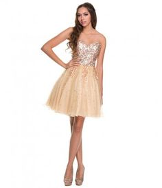 This is a great short prom dress! It has a sweetheart neckline with a fitted sequin bodice. The skirt has layers of tull...Price - $98.00-wFrcOEJP