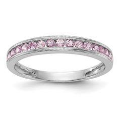 14k White Gold Pink Sapphire Channel Set Anniversary Band – Sparkle & Jade