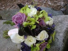 Purple Green and white lowers bridal bouquet design by Julie Floyd of Creative Gardens, Lee, NH www.creativegardensnh.com