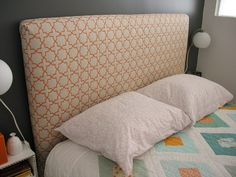 I finally finished my DIY headboard and floating night stands! I really love how they turned out. My bedroom is tiny, so I wanted something very simple and minimalist, yet I still wa… Diy Fabric Headboard, Headboard Cover, Diy Headboards, Headboard Ideas, King Headboard, Teen Headboard, Quilted Headboard, Homemade Headboards, Headboard Makeover