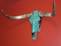 Skull with turquoise