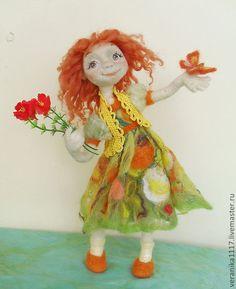 """Купить Авторская кукла из шерсти """"Улыбка лета"""". - рыжий, валяная кукла, летнее настроение"""