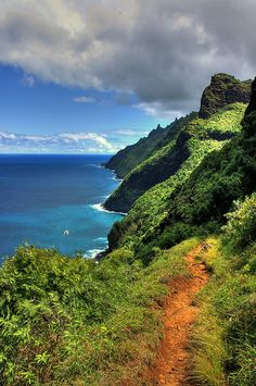 Have to hike this trail! According to National Geographic one of the top 15 classic hikes in the world: Kalalau Trail, Kauai, Hawaii.