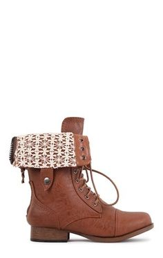 Deb Shops Mid-Height #Combat #Boot with Crochet Fold Over and Lace Up Front $29.99