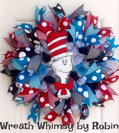 Dr. Seuss Cat In the Hat Inspired Deco Mesh Wreath in Red, Turquoise, Black & White, Classroom Wreath, Dr Seuss Decor, Dr Seuss Party
