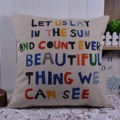 18x18 Colorful Wrods Linen Pillow Case Cushion Cover Words Wording
