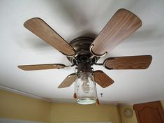 Mason jar fan - a regular-sized mason jar will screw into some fans where the regular cover fits! cute for outside fan! Mason Jar Pendant Light, Mason Jar Light Fixture, Mason Jar Lighting, Light Fixtures, Western Decor, Rustic Decor, Arts And Crafts Projects, Diy Projects, House Projects