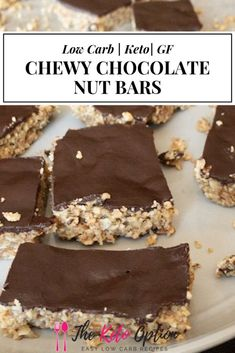 Keto Chewy Chocolate Nut Bars   Keto Granola Bar   Low Carb Snack   Keto Diet   Gluten Free Bar   Visit trinakrug.com/recipes