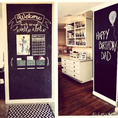 Whether it's for a grocery list, a check list, sweet sayings or a place for the kids to draw, chalk board walls are all the rage! Perfect for those blank walls in a kitchen, a stairway, playroom or entryway! We're loving this home trend! What about you, would you consider a chalkboard wall in your home?! #hometrends #2015 #chalkboard #chalkboardwall #shabbychic #farmhouse #decoratingideas #decoratingtips #decoratingtrend #kitchenidea #entryway #playroomideas #socalrealtor #socalrealestate…