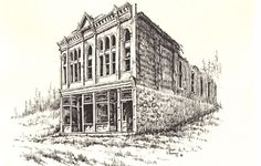 Drawing pen & ink print Ghost Town #Realism