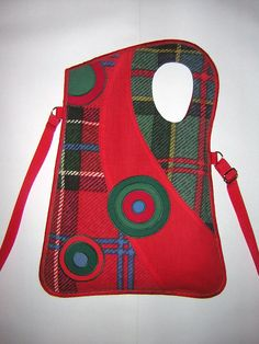 Haversack MEDIUM CANVAS BAG Sling Bag shoulder purse travel tote iPad holder mixed fabrics -checkered-  in Red-Green with Circles