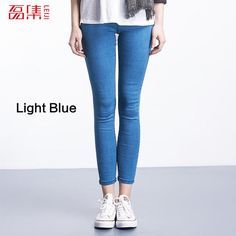 Leiji Fashion Blue S 6XL 2017 Woman Mid Waist Plus Size women Leggings High Elastic Skinny pencil Jeans Capris Pants Femme