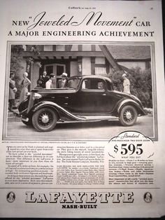 1934 Ad - Nash Lafayette Coupe - New 'Jeweled Movement' Car Family Cars, Advertising, Ads, American Girl, Antique Cars, The Incredibles, Cutaway, Vintage Cars, American Girls