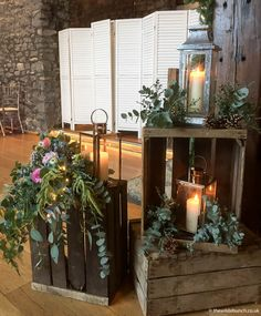 Boho / Rustic venue styling by Bristol florists, The Wilde Bunch at Priston Mill. Old crates, lanterns and real candles work so well in the Stone Barn Wedding Aisles, Wedding Aisle Decorations, Wedding Lanterns, Wedding Table, Rustic Wedding, Pallet Wedding, Wedding Ideas, Wedding Flower Design, Wedding Flowers