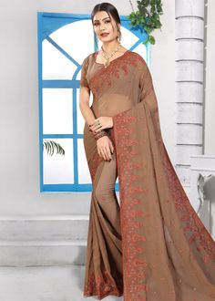 Brown Georgette Embroidered Saree With Blouse Net Saree, Georgette Sarees, Silk Sarees, Indian Designer Sarees, Indian Sarees, Blouse Online, Sarees Online, Wrap Around Skirt, Wedding Sarees