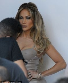 Sultry look: The singer was spotted giving a sultry look before the taping...