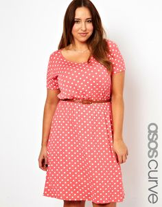ASOS Skater Dress in Spot Print (Coral) - sizes 14 to 24