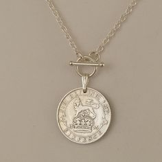 British Coin Necklace 1916 Silver Six Pence Coin Jewelry, Coin Necklace, Metal Jewelry, Bridal Jewelry, Jewelry Crafts, Jewelery, Silver Jewelry, Vintage Jewelry, Handmade Jewelry