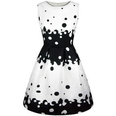 Black White Dot Printed Round Neck Skater Dress (£25) ❤ liked on Polyvore featuring dresses, short dresses, polka dot dress, short flared dresses, flared dresses, summer skater dress and flare dresses