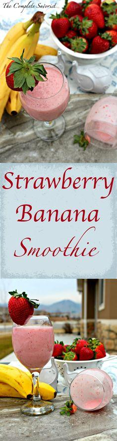 Strawberry Banana Yogurt Smoothie - The Complete Savorist - Frozen Strawberry Banana Yogurt Smoothie, Yogurt Smoothies, Smoothie Drinks, Strawberry Recipes, Healthy Smoothies, Smoothie Recipes, Drink Recipes, Healthy Recipes, Homemade Smoothies