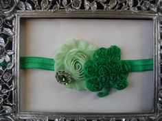 St. Patricks Day Headband with mint green shabby rose and rosette shamrock with green rhinestone on green fold over elastic