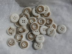 25 Vintage Buttons Two Tone Marble or Horn Look Buttons