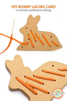 Free Printable: Cardboard Bunny Lacing Card Template