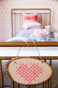 Heart Cross Stitch in Wood. DIY here http://www.oleanderandpalm.com/2014/02/cross-stitch-heart-in-wood.html